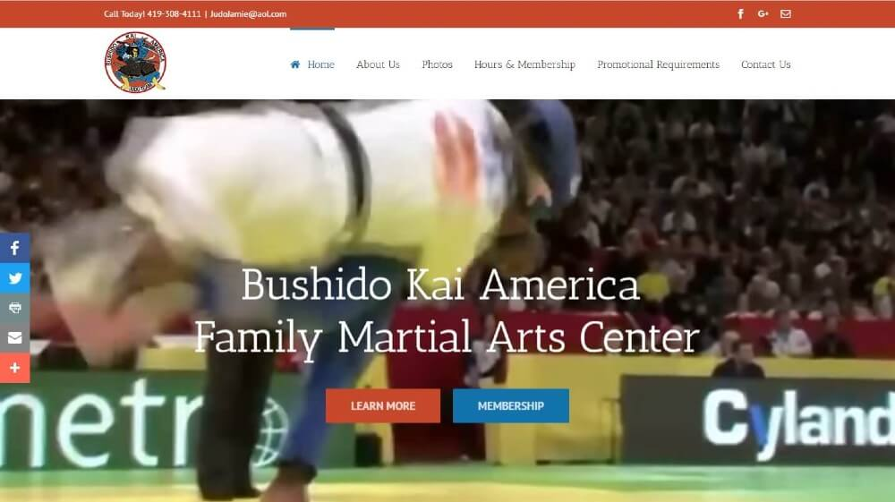 Bushido Kai American Family Martial Arts Center | Great Looking Websites